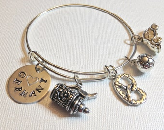 Germany Theme Adjustable Stainless Steel Charm Bangle, Travel, Vacation Charms, Gift for Her, Beer Stein, Soccer, VW, Pretzel, German Pride