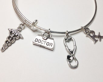 Doctor Theme Adjustable Charm Bangle, Medical Caduceus, Stethoscope, Stainless Steel Bangle, Womens Bracelet, Stackable Bangle, Gift for Her