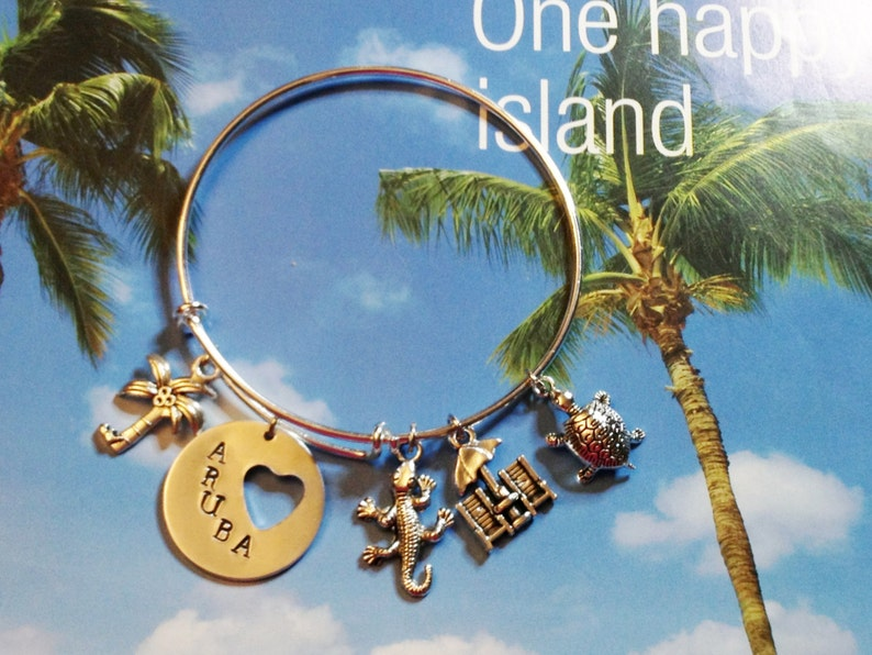 Aruba Beach Theme Adjustable Charm Bangle Stainless Steel image 0