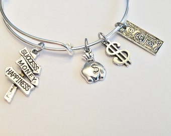 Finance Theme Expandable Silver Bangle, Success, Money, Business, Wealth, Stock Broker, Wall Street, Investor, Professional, Career, Gambler