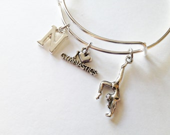 Personalized Gymnastics Theme Adjustable Silver Bangle, Stainless Steel Bangle, Initial, Gymnast, Acrobatic, Charm Bangle, Gift for Her