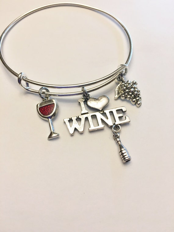 62d71c922fae8 Wine Lover Theme Adjustable Charm Bangle, Stainless Steel Bangle, Gift for  Her, Girlfriend, Sister, Wine Glass, Grapes, Girl's Night Out