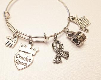 Crochet Queen Adjustable Silver Stainless Steel Charm Bangle, Womens Charm Bracelet, Gift for Mom, Grandmother, Nana, Aunt, Sister, Hobbie
