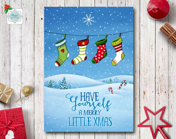 Download Christmas Cards.Merry Christmas Card Printable Holiday Greeting Cards Watercolor Christmas Stockings Winter Landscape Holiday Decor Happy Holidays Card