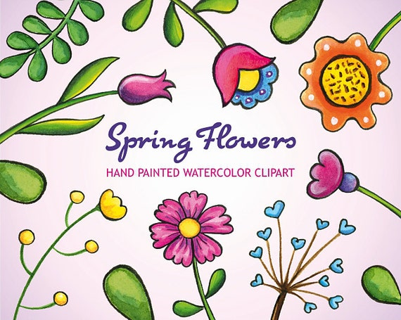 Watercolor flower clipart hand painted watercolor spring mightylinksfo