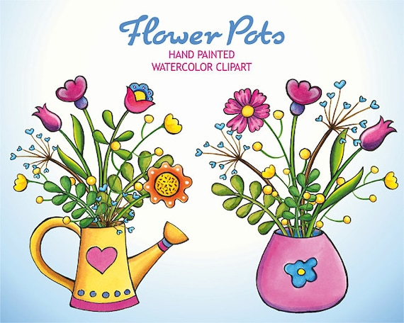Watercolor Flowers Clip Art Hand Drawn Floral Clipart ...