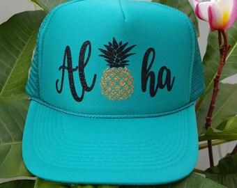 Aloha hat, Teal Trucker Hat, Pineapple Hat, Glitter Pineapple Hat, Hawaii, Gift under 20.00, Baseball Hat, Beach Hat, Fun Hat, Vacation Hat