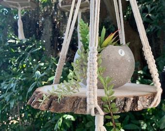 Macrame Hanging Wood Slice Shelf - Plant Shelf- Plant Hanger - Hanging Shelf
