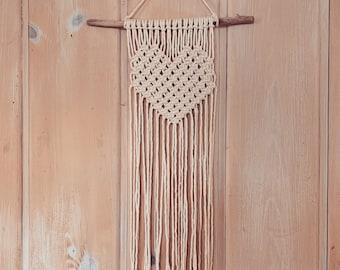 Small Macrame Heart- Macrame Wall Hanging- Made to Order Macrame- Custom Macrame- 3mm Macrame- Macrame Rope- Boho Decor- Macrame Wedding
