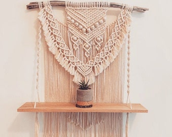 "Large Macrame- ""Ashley""- Macrame Shelf Wall Hanging- Made to Order Macrame- Custom Macrame- Macrame Wedding- Macrame Rope- Boho Decor"