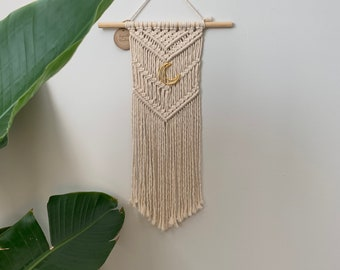 Macrame Wall Hanging With Gold Moon