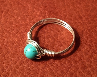 Boho Ring // Wire Wrapped Ring // Turquoise Ring // Wire Ring // Silver Ring // Cute Ring // Bohemian Ring // Hippie Ring // Simple Ring