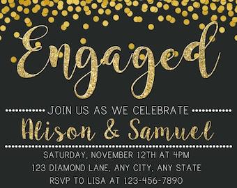 Engagement Invitation, Engagement Party Invitation, Chalkboard Invitation, Black and Gold Engagement Invitation, Printable Invitation