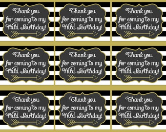 Young Wild and Three Thank you Tags, Young Wild and Three Birthday, Young Wild and Three Party, Third Birthday Party, Thank you Tags, Arrow