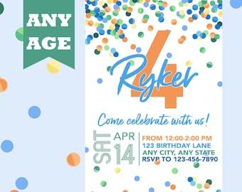 Fourth Birthday Invitation Blue Confetti Boy 4th Invite Any Age Printable Printed