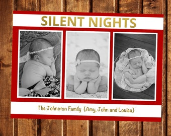 Christmas Card, Photo Christmas Card, Photo Holiday Card, Double Sided Christmas Card, Digital, Silent Nights, Baby Christmas Card, Gold Red