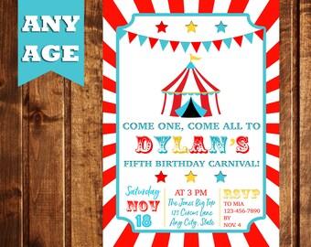 Circus Birthday Invitation, Carnival Birthday Invitation, Vintage Circus Birthday Invitation, Carnival Party, Circus Party, Boy Birthday