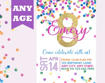 Eighth Birthday Invitation Pink Gold Confetti Girl 8th Invite Any Age Printable