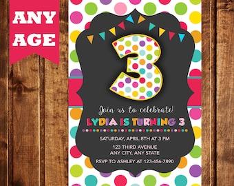3rd Birthday Invitation Girl, Birthday Invitation, Printable, Polka Dot Invitation, Third Birthday Party Invitation, Any Age, Colorful