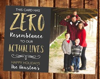 Christmas Card, Photo Christmas Card, Photo Holiday Card, Funny Holiday Christmas Card, Printable, This Card has zero resemblance, Humorous