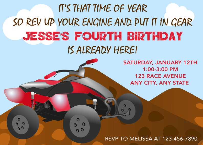 4 Wheeler Invitation Birthday Party Invitations