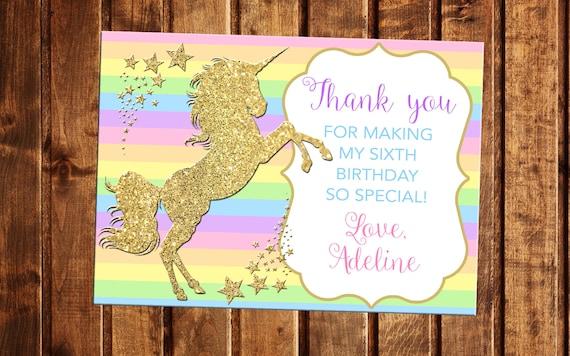 unicorn thank you card rainbow unicorn party unicorn  etsy