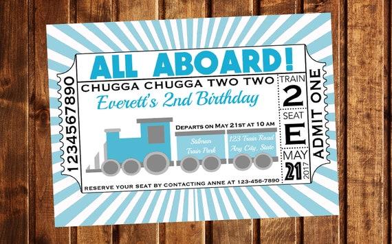 Train Invitation Birthday Ticket