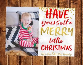 Christmas Card, Photo Christmas Card, Photo Holiday Card, Double Sided Christmas Card, Printable Christmas Card, Have yourself a merry