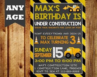 Construction Birthday Invitation, Construction Party, Construction Birthday, Construction Invitation, Boys Construction, Dump Truck, Truck