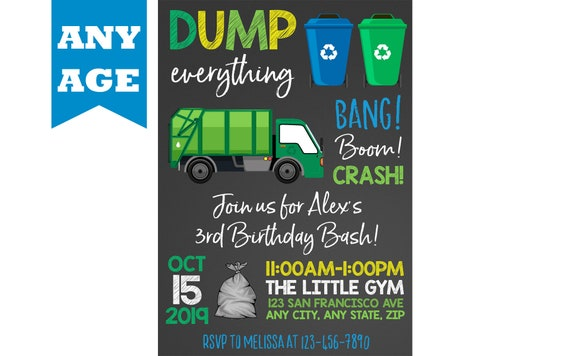 Garbage Truck Invitation Party Birthday Recycle Invite