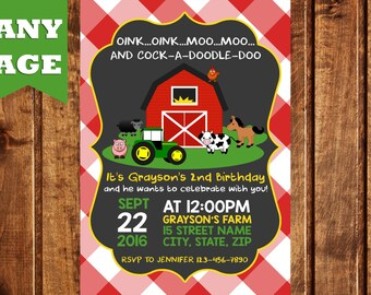 Farm Birthday Invitation, Farm Birthday, Farm Animals Invitation, Farm Party, Farm Invitation, Barnyard Birthday, Barnyard Invitation