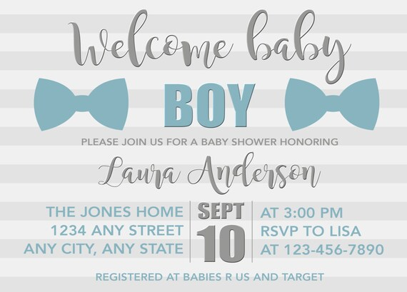 Bow Tie Baby Shower Invitation Boy Little Man Blue And Grey Welcome