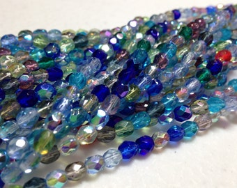 4mm AB MIX - fire polish Czech beads - Assorted Blue, Red, Crystal and Green mix, 50 or 100 bead pricing available