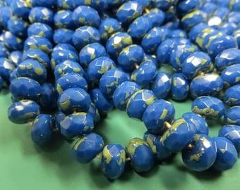 Rondelle Donut, 8mm Czech cut glass,  COBALT BLUE Green Picasso beads, 5x8mm, 25 Beads