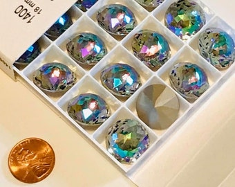 Swarovski 1400 Dome Round Stone Crystal Paradise Shine 18mm, 90 faceted points, Platinum-colored Pro Foiled (1 piece)