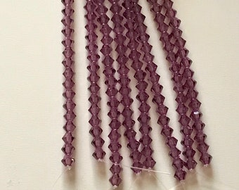 Presciosa Bicones, AMETHYST, 4mm, Crystal cut, CZ glass, 31 beads per strand