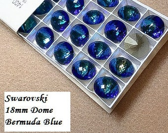 Swarovski 1400 Dome BERMUDA BLUE Round Stone Crystal 18mm, 90 faceted points, Platinum-colored Pro Foiled (1 piece)
