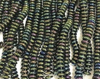 CzechMates LENTILS,Iris Green, 2 hole front drilled,  6mm, 50 beads per strand