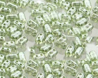 RULLA Green Luster Crystal, Luster coating, 3 x 5mm,  2 hole, 8 grams (approx 70-75 beads), clear hanging tube