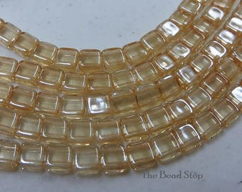 CHAMPAGNE pale yellow  2-hole CzechMate tile beads || 6x6mm side-drilled || choice of 25 pcs or 50pcs