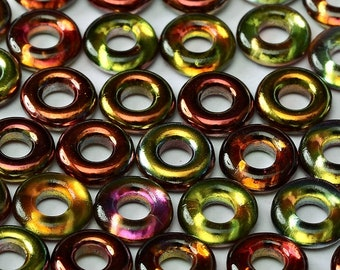 "Magic APPLE  Czech Glass Rings Donuts 9mm, clear 3"" hanging tube"