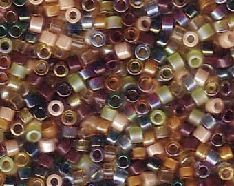 "DBMIX07 11/0 Delica Miyuki Cylinder beads, EARTHTONE MIX, 7.8 grams, 2"" clear hanging tube"