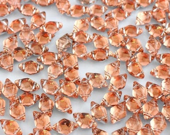"GemDuo Beads, BACKLIT PEACH, Orange, Peach Tint, Silver backing, 8x5mm, Matubo, 10 grams (approx 70 beads), clear 2.5"" tube"