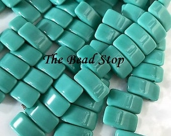 CARRIER bead, TURQUOISE blue, czech glass, 9x17 mm, 2-hole side drilled, pillow beads, 15 beads per strand (1 unit)