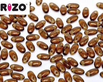Rizo® SMOKE TOPAZ, 10 grams, 2.5 x 6mm, hanging tube, approx 150 beads