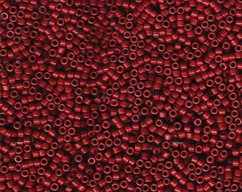 """DB654 11/0 Delica Miyuki Cylinder beads, Opaque Cranberry Maroon, 8 grams, 2"""" clear hanging tube"""