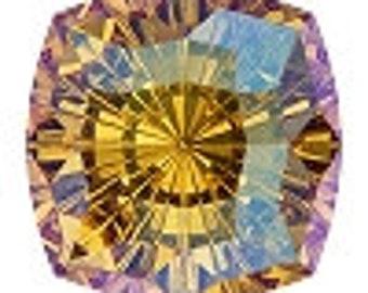 SWAROVSKI 4460 MYSTIC Square Topaz Shimmer Fancy Stone 14MM, Platinum-colored Pro Foiled (1 piece each)