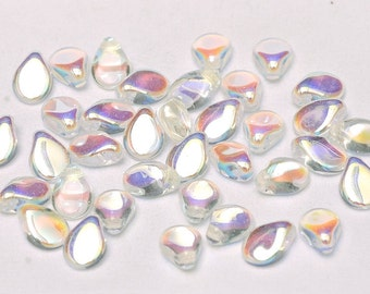 Preciosa Pip™ Crystal AB beads, AB coating, 5 x 7mm, 50 beads, clear hanging tube