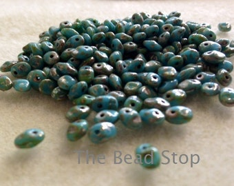 "Super Uno 1-hole bead,Turquoise Picasso, 2.5x5mm, 10 gr approx, 2"" hanging tube for convient storage"