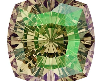 SWAROVSKI 4460 MYSTIC Square Luminous GREEN Fancy Stone 14MM, Platinum-colored Pro Foiled (1 piece each)